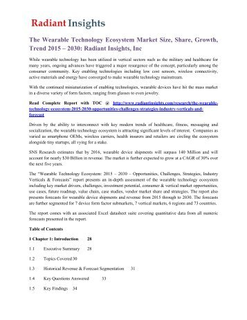 The Wearable Technology Ecosystem Market Size, Share, Growth, Trend 2015 – 2030 Radiant Insights, Inc