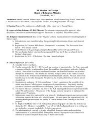 St. Stephen the Martyr Board of Education Minutes March 15, 2011