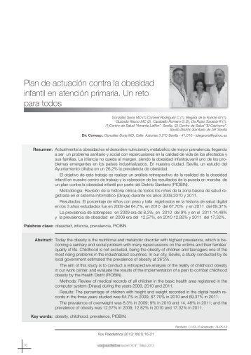 Plan de actuación contra la obesidad infantil en atención primaria ...
