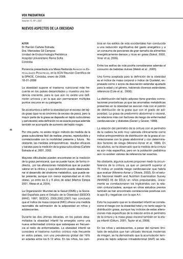 NUEVOS ASPECTOS DE LA OBESIDAD - Sociedad de Pediatría de ...