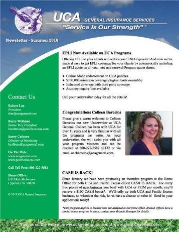general fnsu'ranse services - UCA General Insurance Service Inc.