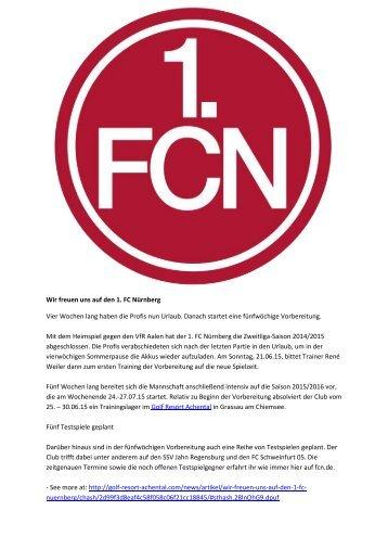 Wir freuen uns auf den 1. FC Nürnberg