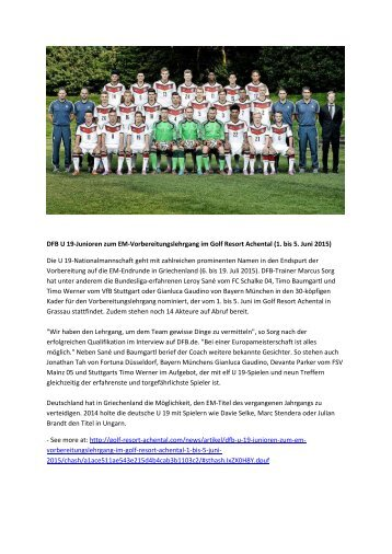 DFB U 19-Junioren zum EM-Vorbereitungslehrgang im Golf Resort Achental (1. bis 5. Juni 2015)