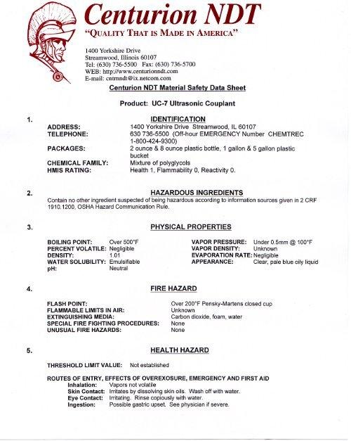 MSDS UC-7 ULTRASONIC COUPLANT pdf - Centurion NDT, Inc