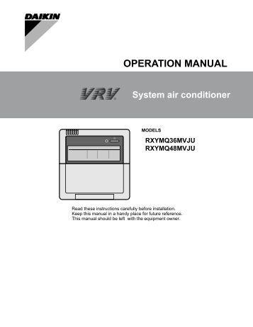 Daikin Vrv Iii operation Manual