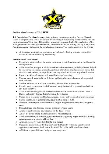 28+ [ Gym Manager Jobs ] | Cover Letter Samples Amp Examples Amp ...