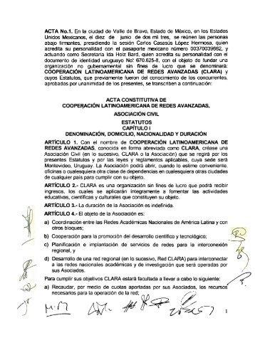 Estatutos CLARA - RedCLARA