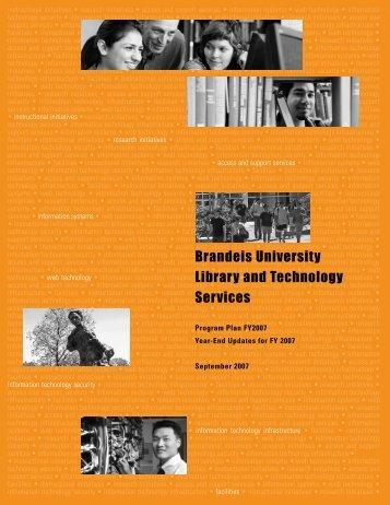 Program Plan Updates for FY2007 - Brandeis University Libraries