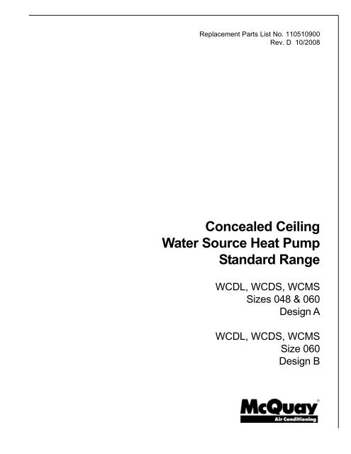 WCDL, WCDS, WCMS Sizes 048 & 060 Design A and ... - HTS Texas on