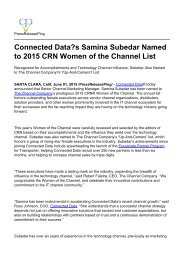 Connected Data?s Samina Subedar Named to 2015 CRN Women of the Channel List