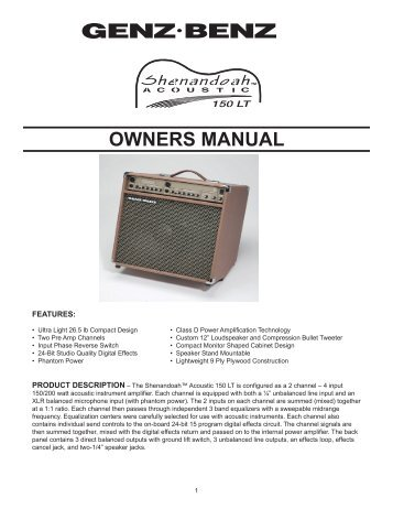 Shenandoah Acoustic 150LT Owners Manual - Genz Benz