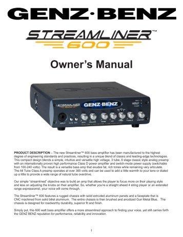 Streamliner 600 Manual - Genz Benz