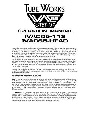 IVAC 65 manual - Genz Benz