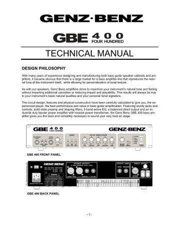 GBE 400 Technical Manual - Genz Benz