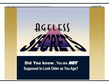 FREE E-BOOK - Ageless Secret