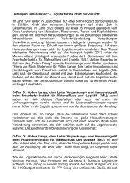 """""""Intelligent urbanization"""" - Logistik für die Stadt der Zukunft Im Jahr ..."""