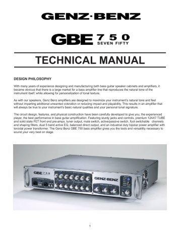 GBE 750 Technical Manual - Genz Benz