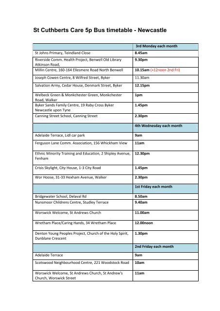 St Cuthberts Care 5p Bus Timetable Newcastle