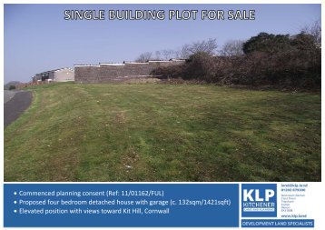 SINGLE BUILDING PLOT FOR DETACHED HOUSE, PLYMOUTH, DEVON
