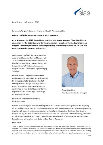 1/2 Press Release, 10 September 2012 Personnel changes in ... - Sias
