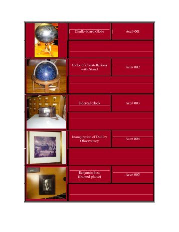 Catalog - Dudley Observatory