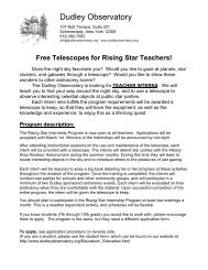 Teacher Application - Dudley Observatory