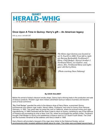 Once Upon A Time in Quincy: Harry's gift - Historical Society of ...