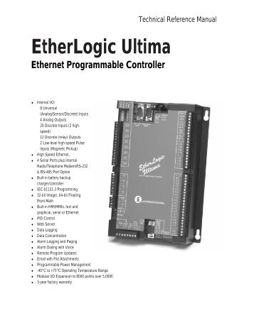 EtherLogic Ultima Controller - Industrial Control Links