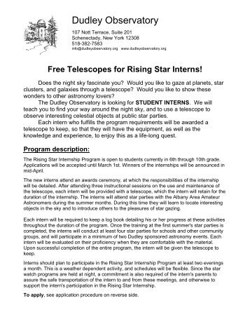 Student Application (grades 7 - 10) - Dudley Observatory