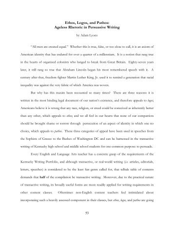 Good High School Essay Examples Ethos Logos And Pathos Ageless Rhetoric In Persuasive Writing Essay On English Subject also High School Essay Examples Logos Ethos And Pathos George Washington Essay Paper