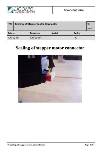Sealing of stepper motor connector