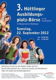 3.Hüttlinger Ausbildungs- platz-Börse - Hüttlingen