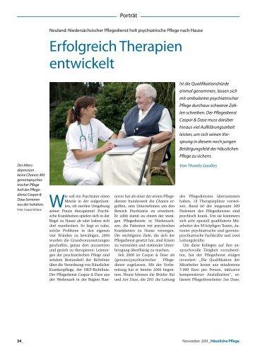 Erfolgreich Therapien entwickelt - Pflegedienst Caspar & Dase
