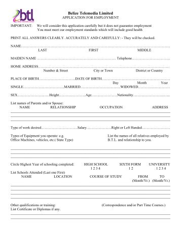 download-application-form-for-employment-belize-telemedia-limited Job Application Form Woolworths on blank generic, free generic, part time,