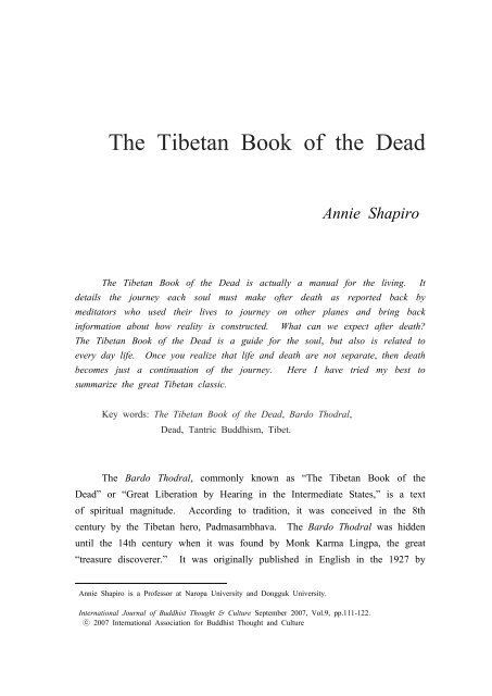 The Tibetan Book of the Dead - Buddhism.org