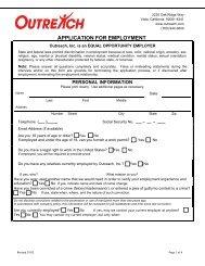 Employment Application Form - Outreach