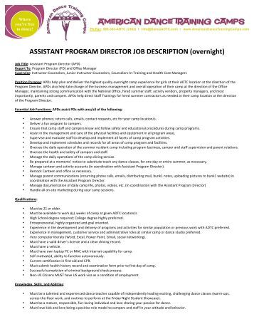 Program Director Job Description Finance Director Position
