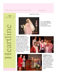 Online Newsletter of the Academy of the Sacred Heart Mater's Feast