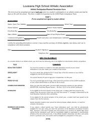 LHSAA Athletic Participation and Permission Form