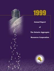 1999 - The Ontario Aggregate Resources Corporation