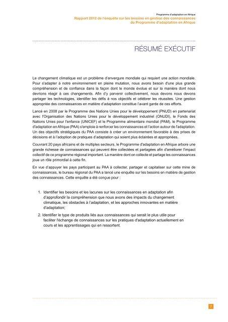 KMNS Report - Francais.pdf - Africa Adaptation Programme