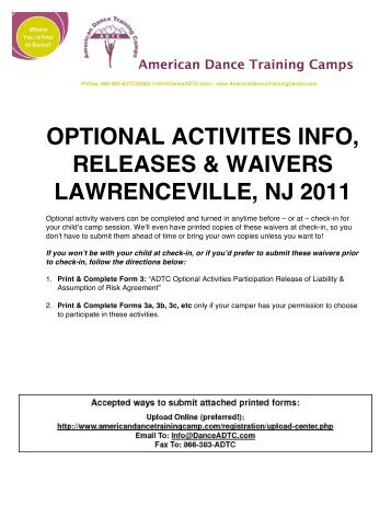 2011-New Jersey-Activity-Waivers - American Dance Training Camp