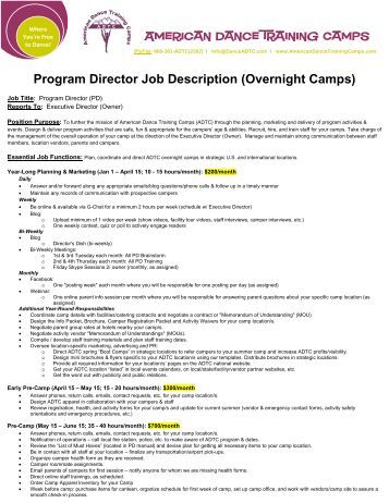 Program Director Job Description - American Dance Training Camp