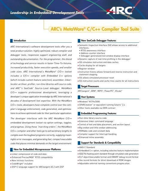 ARC's MetaWare® C/C++ Compiler Tool Suite