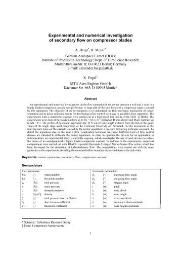 Experimental and Numerical Investigation of ... - Cfd4aircraft