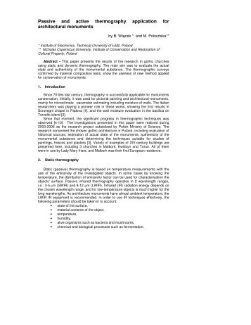 Passive and active thermography application for architectural ... - QIRT
