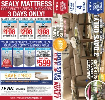PRe 4th Of JulYPRe 4th Of JulY   Levin Furniture