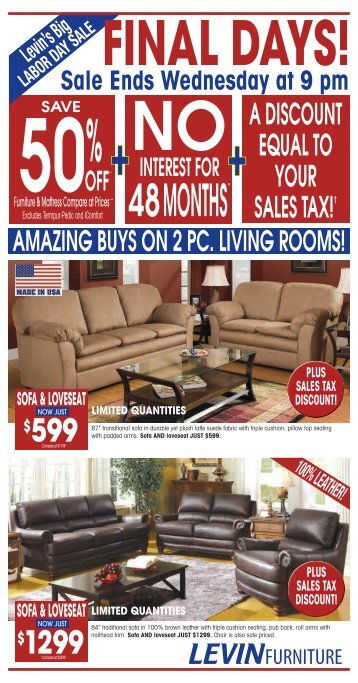 A DISCOUNT EQUAL TO YOUR SALES TAX!âu20ac   Levin Furniture