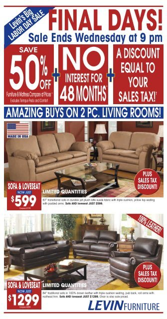 A Equal To Your S Tax â, Levin Furniture Com