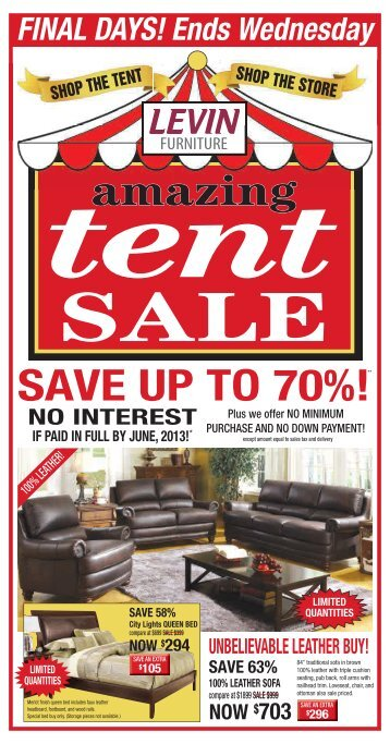 Levin Furniture Tent Sale   Levin Furniture Sale